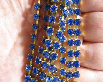 4MM Bright Blue Crystal and Brass Chain