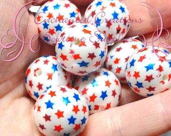 20mm White With Red And Blue Star Print Bubblegum Bead, Patriotic Gumball Bead, 4th of July Printed Beads, Chunky Beads, Large Jewelry Beads
