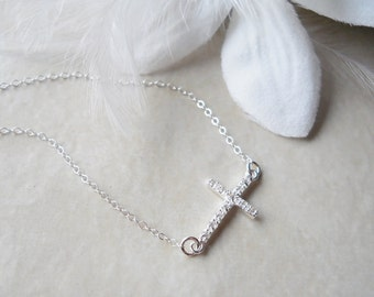 Sideways Cross CZ Rhinestone Necklace All Sterling Silver