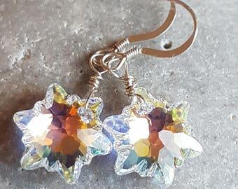 Swarovski Edelweiss Crystal Earrings Auraura Borealis/AB Coated Earrings Snowflake Ice Crystal Winter Crystal Earrings