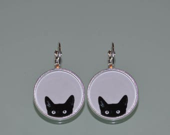 PEEKING BLACK CAT earrings, Cat Earrings, black cat earrings, cat jewelery, black, cats, peeking cat, cat lover, black, white cat