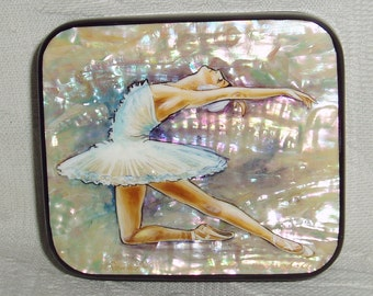 """Beautiful Hand Painted Russian small Lacquer box miniature """" Ballet Swan Lake. Odette. """" Ballerina Mother of Pearl"""