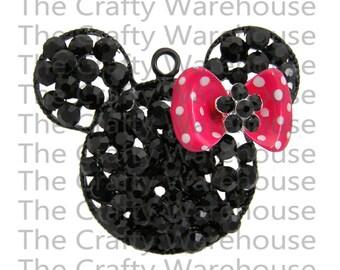 Valentines Chunky Necklace Pendant | Rhinestone Pendant | 2 inch | Chunky Necklace Pendant | Mouse Inspired Pendant | Valentines Pendant