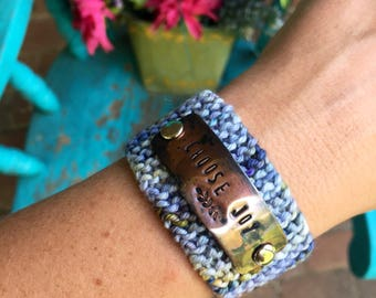Choose Joy Bracelet, Faith Jewelry Gift for Her, Custom Hand Stamped Blue Knit Cuff Bracelet, Christian Bracelet