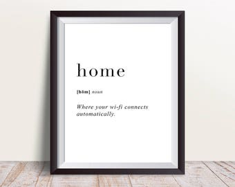 Home Definition Print, Wall Art Prints, Quote Print, Wall Decor, Minimalist Poster, Minimalist Print, Modern Art, Home Print, Definition