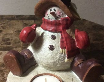Country Christmas Snowman Candle and Holder Winter Decoration Home Decor
