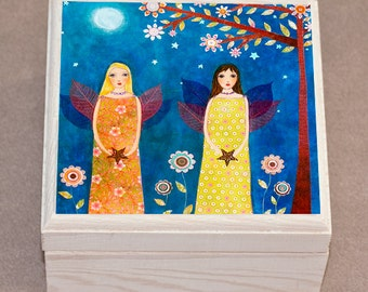 Moonlight Fairies Jewelry Box, Fairy Trinket Box, Gift Box ideal Sister GIft or Best Friend Gift