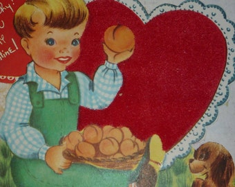 Cute Boy With Basket of Peaches Vintage 1950s  Flocked Valentine Card