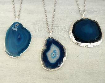 Blue Agate Slice Necklaces for Women gift Dark Blue Agate Silver plated Necklace Slice Quartz Crystals Long Necklace Boho pendant for women