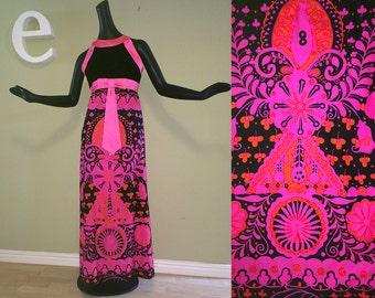 1 or 2 MOD Hippie 60s Hawaiian Beach Wedding Maxi Dresses Bridesmaid Bridal Bride Gown Neon Pink Barkcloth Black Velvet & Pink Satin Bow SM