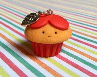Kawaii Polymer Clay Valentine Heart Cupcake Charm