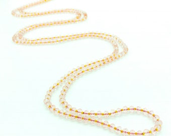 Pale Pink Crystal Rondelle Sparkling Glass Beaded Necklace. Double Strand Necklace. Lariat Necklace. Opera Necklace. Boho Beaded Necklace.