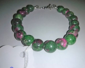 Ruby Zoisite Sterling Silver Gemstone Bracelet 8 inches long