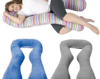 "Maternity/pregnancy/nursing support body pillow, cushion,minky fabric+cotton ""U"""