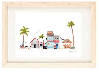 BEACH TOWN - Colorful Summer Time, Seaside Village, Illustration Giclee Print, Art For Summer, Surf, Sand, Sun, 5 x 7