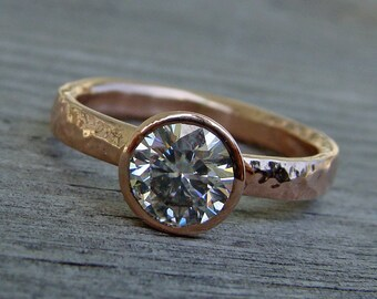 Rose Gold Engagement / Wedding Ring - Forever One G-H-I Moissanite and Recycled 14k Rose Gold, Made to Order - Eco-Friendly, Conflict Free