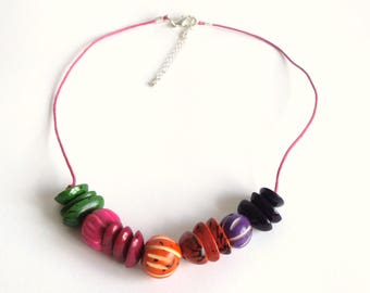 Candy Necklace hand-made with natural seeds.
