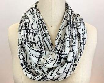 Black and white printed silk infinity scarf