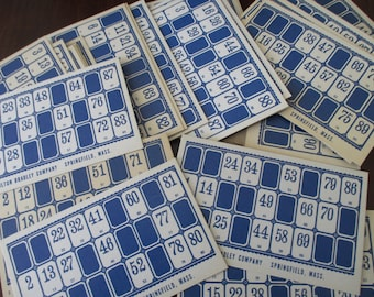 9 vintage Lotto Cards, blue, 40s, 50s