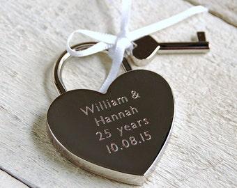 Personalised Heart Padlock - Plain Font (Heart Lock) ~ Personalised Engagement, Wedding, Anniversary, Birthday, Valentines Gift