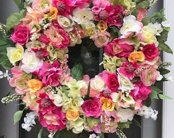 Spring Wreaths for Front Door Wreaths for Front Door Summer Wreaths Floral Wreaths Spring Wreath Flower Door Wreaths Full Wreaths