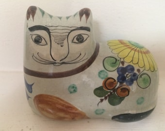 Mexican Hand Painted Ceramic Cat