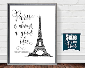 PARIS BEDROOM DECOR, Bedroom Decor Paris, Paris Themed Decor For Bedroom, Paris Prints Black and White, Audrey Hepburn Gifts, Paris Wall Art