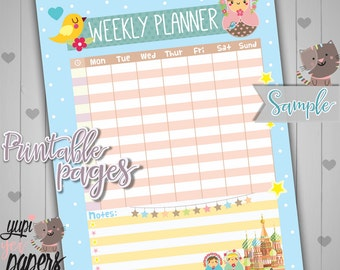 Weekly Planner, Printable Planner, Printable Planner Pages, Week Planner, Organizing Printables, A4 Planner, Matryoshka