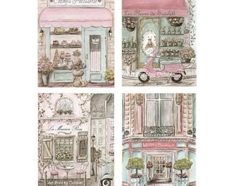 Paris Bedroom Decor, Paris Backdrop Set Of 4 Paris Shops All Personalized With Girls Name, Blush Pink Shabby Chic Paris Decor, 5x7 to 24x36