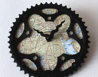 Providence RI Bicycle Clock | Map Clock | Providence City Map Clock | Bike Gear Clock