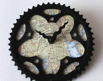 Providence RI Fahrrad Uhr | Karte Uhr | Providence City Map Uhr | Fahrrad-Getriebe-Uhr