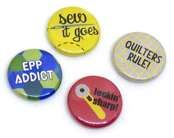 Quilting Pins, 1 inch pin back, Sewing, Quilters Rule, Set of 4