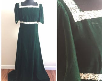 70s GREEN VELVET DRESS / vintage retro irish maxi floor length gown party christmas xmas holidays winter fall autumn medium large long
