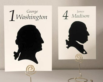 US Presidents' Silhouette Table Number Cards past and present United States Presidents