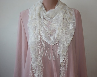 White Triangle Lace Fringe Shawl Fashion Shawl Womens Shawl