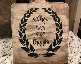 Gather and give thanks wood cookbook/tablet stand