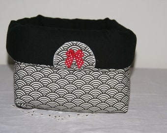 Fabric basket Organizer quilted black and white with his red bow