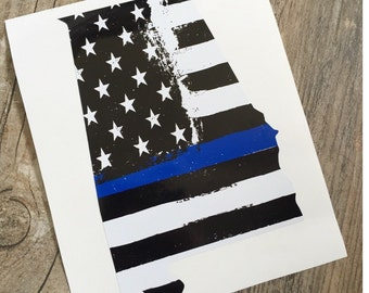 Blue Line Decal Law Enforcement Police Officers Thin Blue Line Car Decal Sticker Bumper Sticker Support LEO Any State Alabama Police Wife