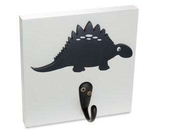 Dinosaur Wall Hook, navy stegosaurus boy room decor, bedroom