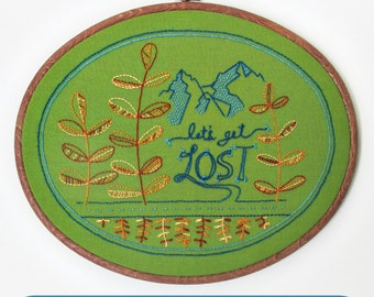 LET'S GET LOST - pdf embroidery pattern, gifts for crafters, gifts for her, diy embroidery design, explore, adventure, by cozyblue on etsy