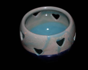 Pottery luminary, candle holder, candle lantern, pottery gift, candle centerpiece, tea light lantern, clay lantern, carved pottery, lantern