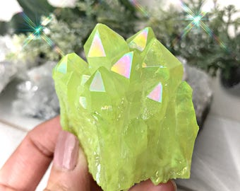Neon Yellow Aura Quartz Crystal Cluster, Quartz Cluster, Yellow Crystal, Gift ideas for her, Unique gift ideas, Crystal Clusters