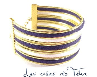 Lovely white cuff, Navy Blue and gold