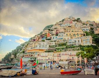 Foto Positano - Amalfi-Küste Fotografie - Druck - Positano-Farbe - Positano Italien - Vintage, Retro, rustikal