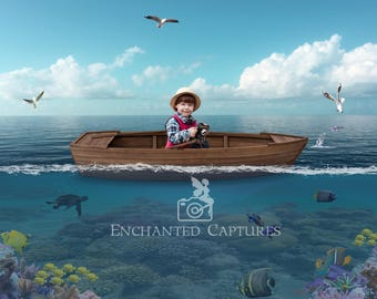 Lost at sea, rowboat in the ocean, digital backdrop for kids, 2 layers for easy editing.
