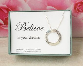 Believe in your dreams necklace sterling silver inspirational jewelry in a gift box gift for daughter, granddaughter, graduate, best friend