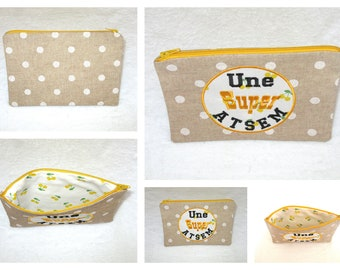 embroidered zipper pouch a great school (customizable)
