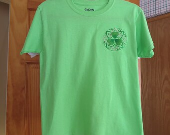 Green tee shirt for St Patricks Day-youth M-10-12
