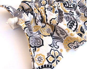 RANAE Kitchen Curtains Yellow White Black Paisley Flowers 44 inches wide Kitchen Window Valance Curtain Bay Window Panel Eva Clements Banana