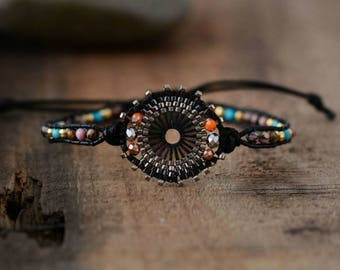 Natural Stone Beaded Friendship Bracelet, Seed Beads Black Brass beads